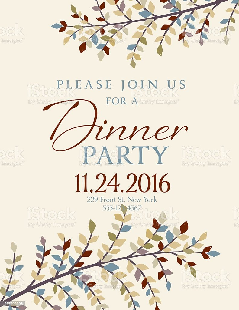 Elegant Fall Dinner Party Invitation Template vector art illustration