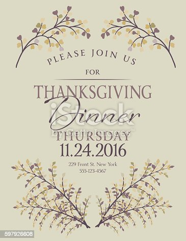 Elegant Fall Dinner Party Invitation Template Cliparts Vectoriels