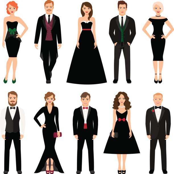 Elegant fashion people illustration Elegant fashion people vector illustration. Men in tuxedos and women in black evening dresses isolated on white background tuxedo stock illustrations