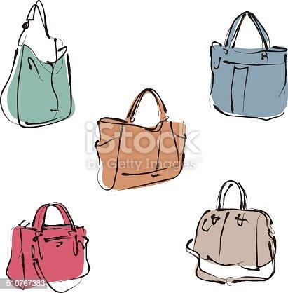 istock Elegant fashion woman leather handbag in sketch style 510767383