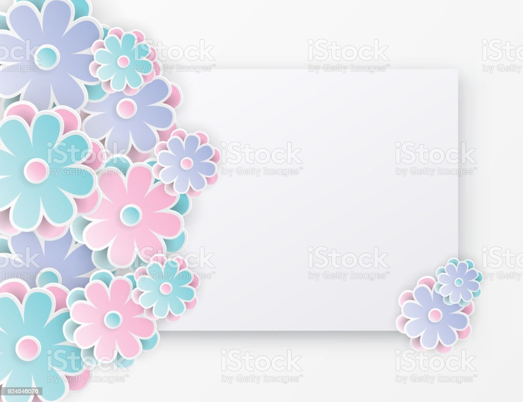 Elegant Floral Background With 3d Paper Flowers And Place For Text