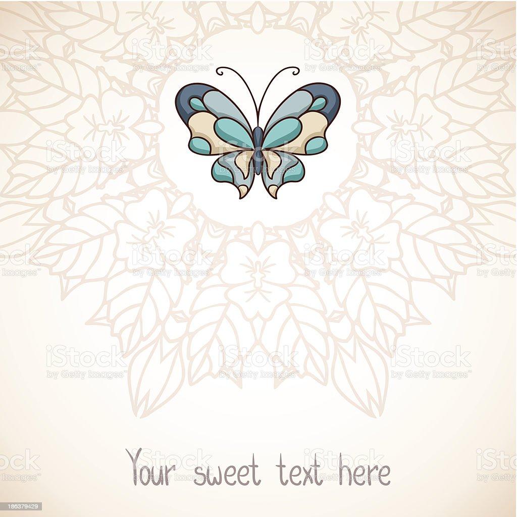 Elegante sfondo floreale con farfalla - illustrazione arte vettoriale
