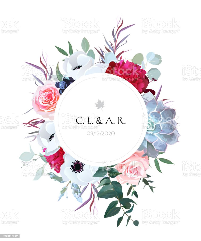 Elegant floral label frame arranged from leaves and flowers vector art illustration