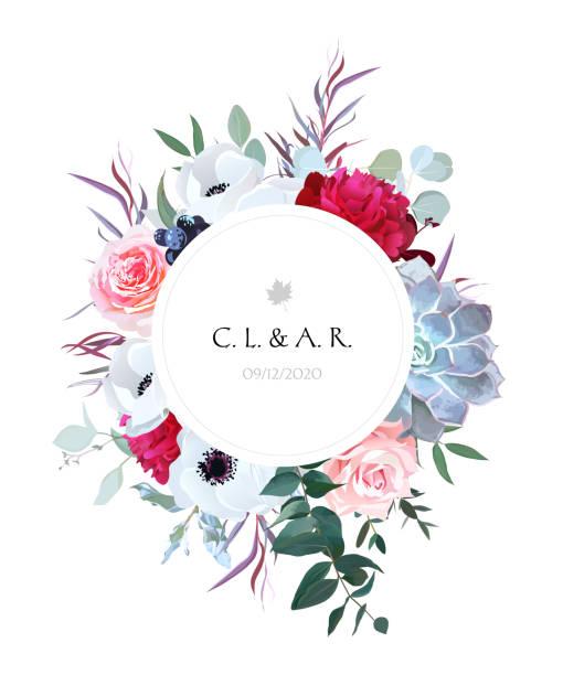 Eleganten floralen Label Rahmen von Blättern und Blüten angeordnet – Vektorgrafik