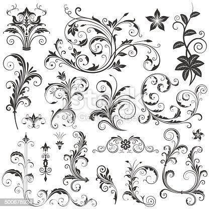 Various ornate scroll design elements vector illustration. Saved in EPS 8 file with all separated elements, very well designed for easy editing. High res jpg file included (5000x5000).