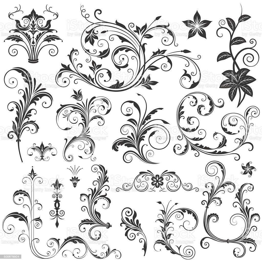 Elegant Floral Ornaments Set II vektorkonstillustration