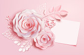 Elegant floral paper art with blank note in pink tone, 3d illustration