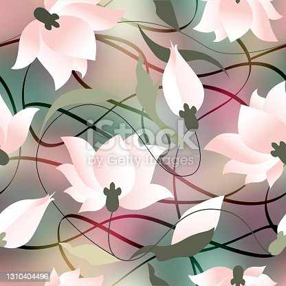 Elegant floral seamless pattern with water lily. Seamless vector image.