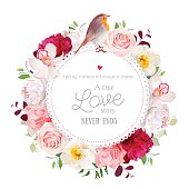 Elegant floral vector round card with white and burgundy red peony, rose, orchid, carnation flowers, mixed leaves and plants and cute small robin bird. All elements are isolated and editable.
