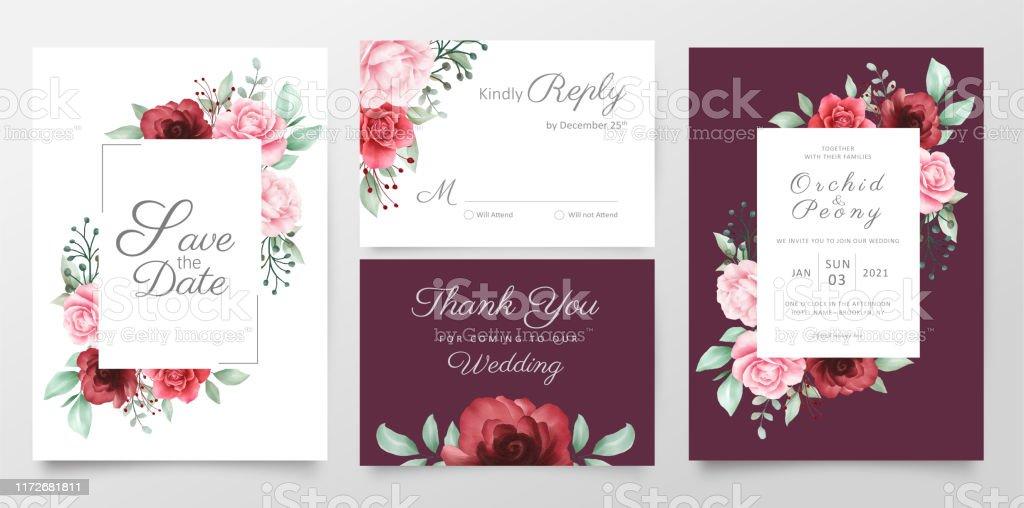 Elegant Floral Wedding Invitation Cards Template Set