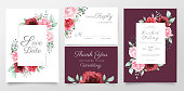 Elegant floral wedding invitation cards template set watercolor flowers decoration. Editable Save the date, invite or greeting, thank you, rsvp cards vector design