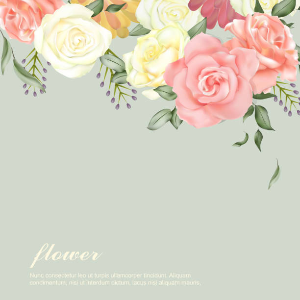 elegant flower background design elegant flower background design with diverse roses trillium stock illustrations
