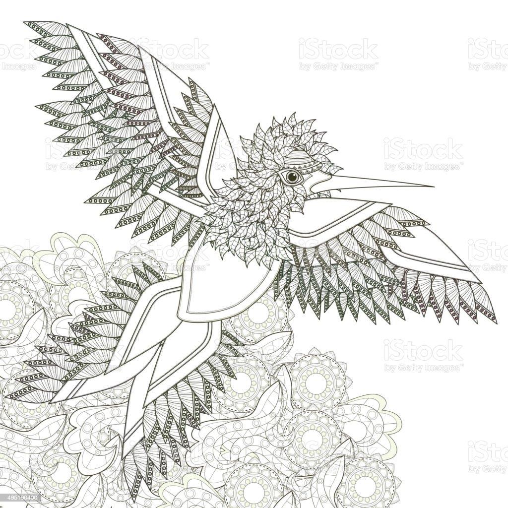 elegant flying bird vector art illustration