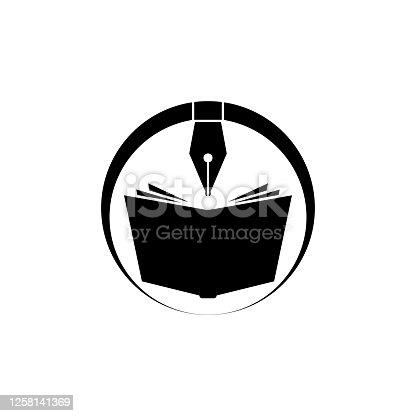 istock Elegant fountain pen and book icon. Book author logo. Book store. Vector illustration. 1258141369