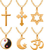 Elegant rubies gemstones vector jewelry religious symbols pendants for necklace or bracelet set.  Good for jewelry gift design.