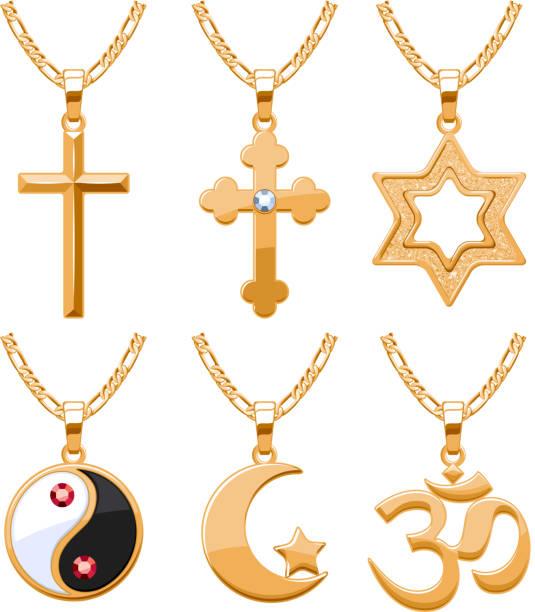 elegante vektor-schmuck edelsteine religiöse symbole set-anhänger - kreuzkette stock-grafiken, -clipart, -cartoons und -symbole