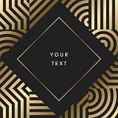 istock Elegant geometric art deco border design with text on dark background 1212848347