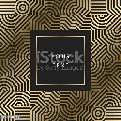 istock Elegant geometric art deco border design with text on dark background 1212848362