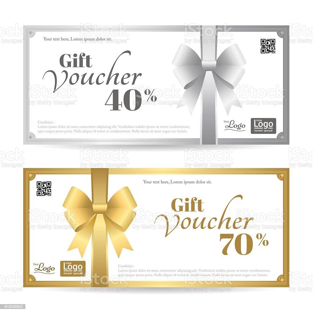 Elegant gift card or gift voucher template with bows stock vector elegant gift card or gift voucher template with bows royalty free stock vector art yelopaper Choice Image