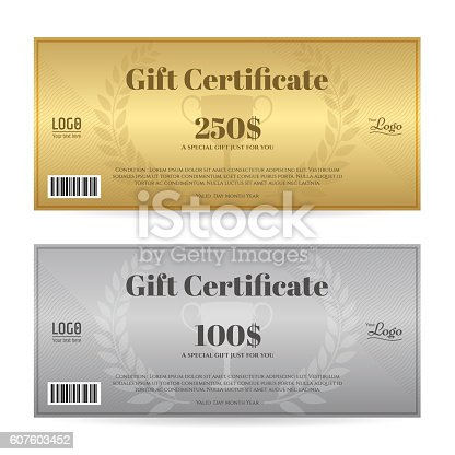 Elegant Gift Certificate Or Gift Voucher Template Stock Vector Art