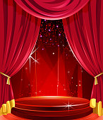 Self illustrated beautiful elegant glossy stage with curtains.Each element in a separate layers.Very easy to edit vector EPS10 file.It has transparency layers with blend effects.