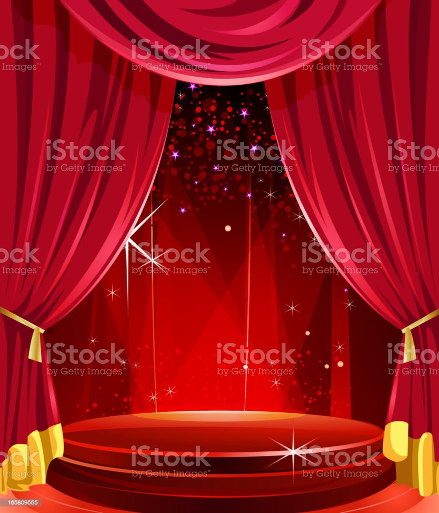 Elegant Glossy Stage with Curtains vector art illustration