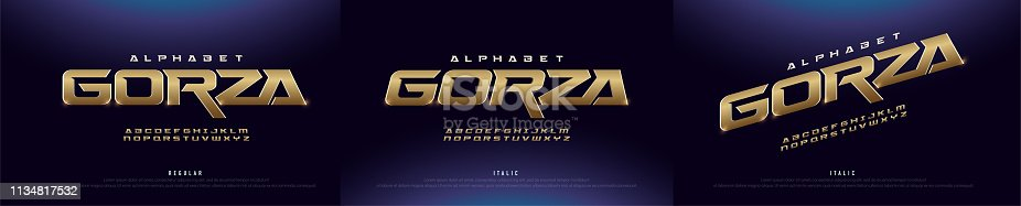 Elegant gold 3D Metal Chrome Alphabet Regular and Italic Font. Typography golden technology, digital, movie logo fonts. vector illustration