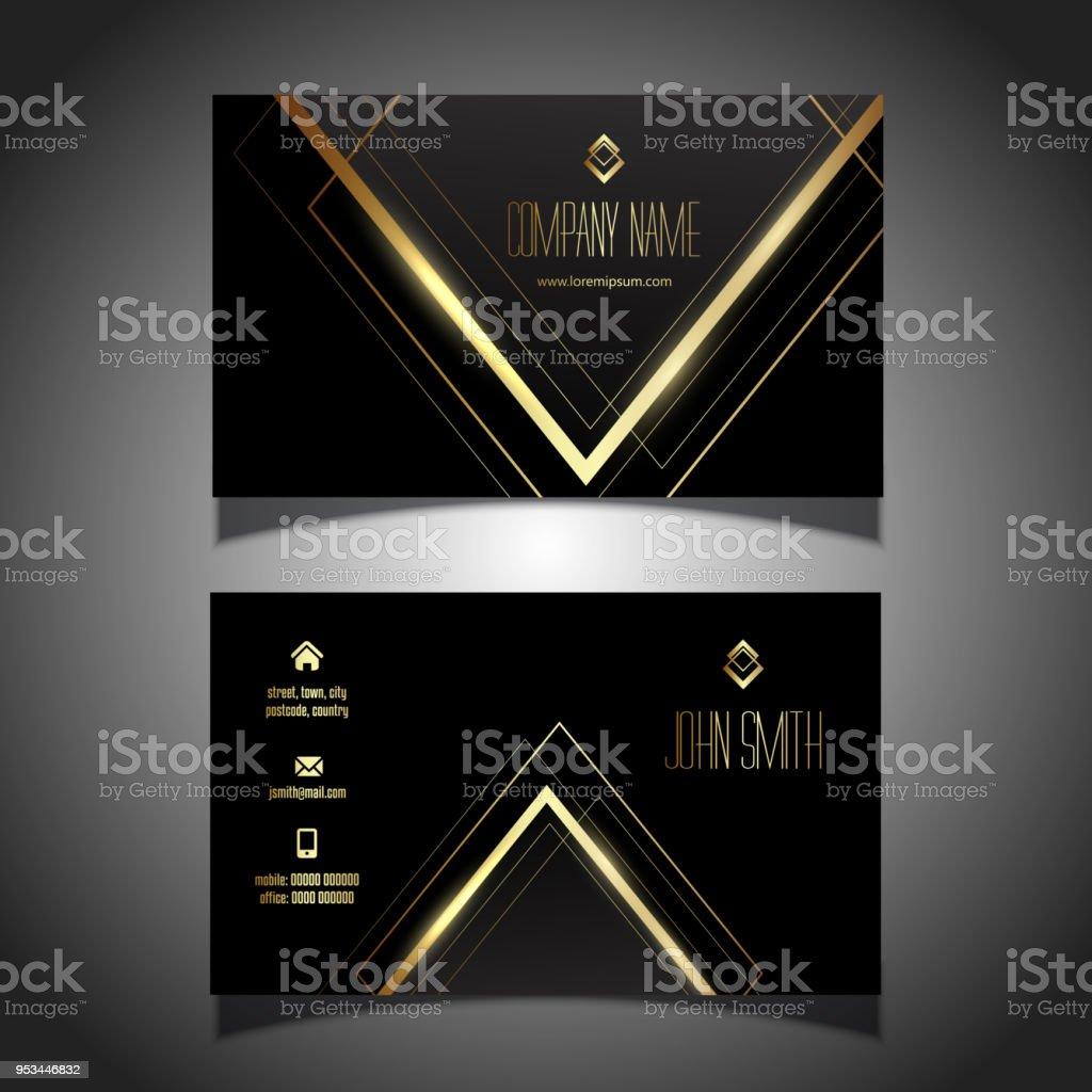 Elegante Gold Und Schwarz Visitenkartendesign Stock Vektor