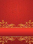 """Curly gold scroll banner page with distressed background. Also good for Christmas designs. All components on seperate layers for easy color changes or modifications.   8.5"""" x 11"""" file or scale to any size without loss of quality. Includes EPS, AI, and hi-res JPG files."""