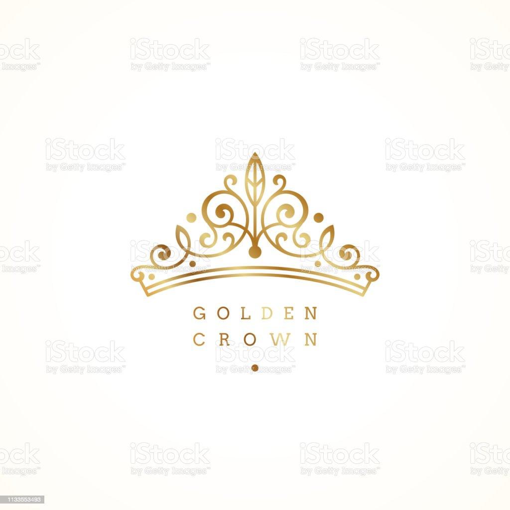 Élégant logo de couronne dorée sur fond blanc. Illustration vectorielle. - clipart vectoriel de Accessoire libre de droits