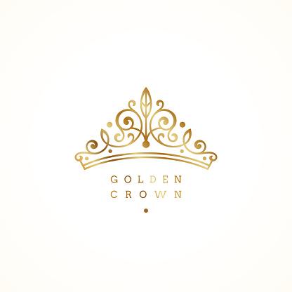 Elegant golden crown logo on white background. Vector illustration.