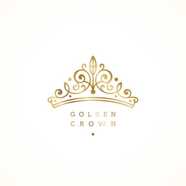 illustrations, cliparts, dessins animés et icônes de élégant logo de couronne dorée sur fond blanc. illustration vectorielle. - diademe