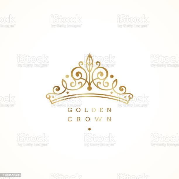 Élégant Logo De Couronne Dorée Sur Fond Blanc Illustration Vectorielle Vecteurs libres de droits et plus d'images vectorielles de Accessoire