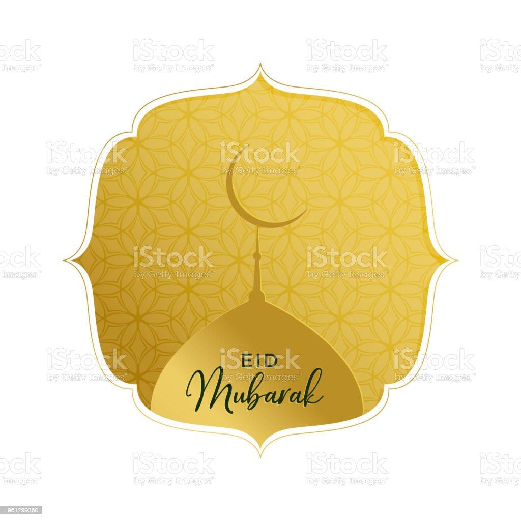 elegant golden eid mubarak greeting with mosque top vector art illustration