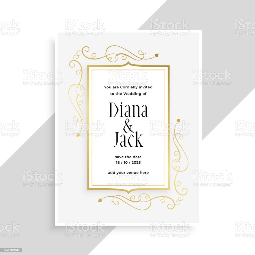 Elegant Golden Floral Frame Wedding Invitation Card Design Stock