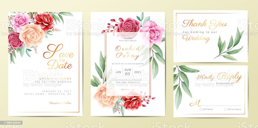 Elegant golden floral wedding invitation cards template set - Royalty-free Anniversary stock vector
