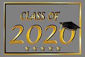 "Elegant, golden, harmonious inscription on a gray background ""Class of 2020"" with a graduate cap."