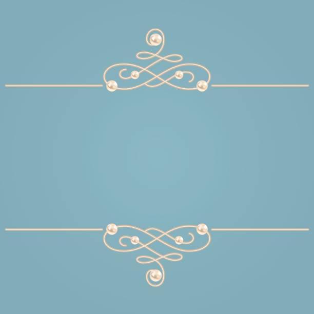 elegante goldene knoten zeichen. blau und beige pastell abbildung, kalligraphischen schnörkel teiler mit perlen. vektor - perlenweben stock-grafiken, -clipart, -cartoons und -symbole