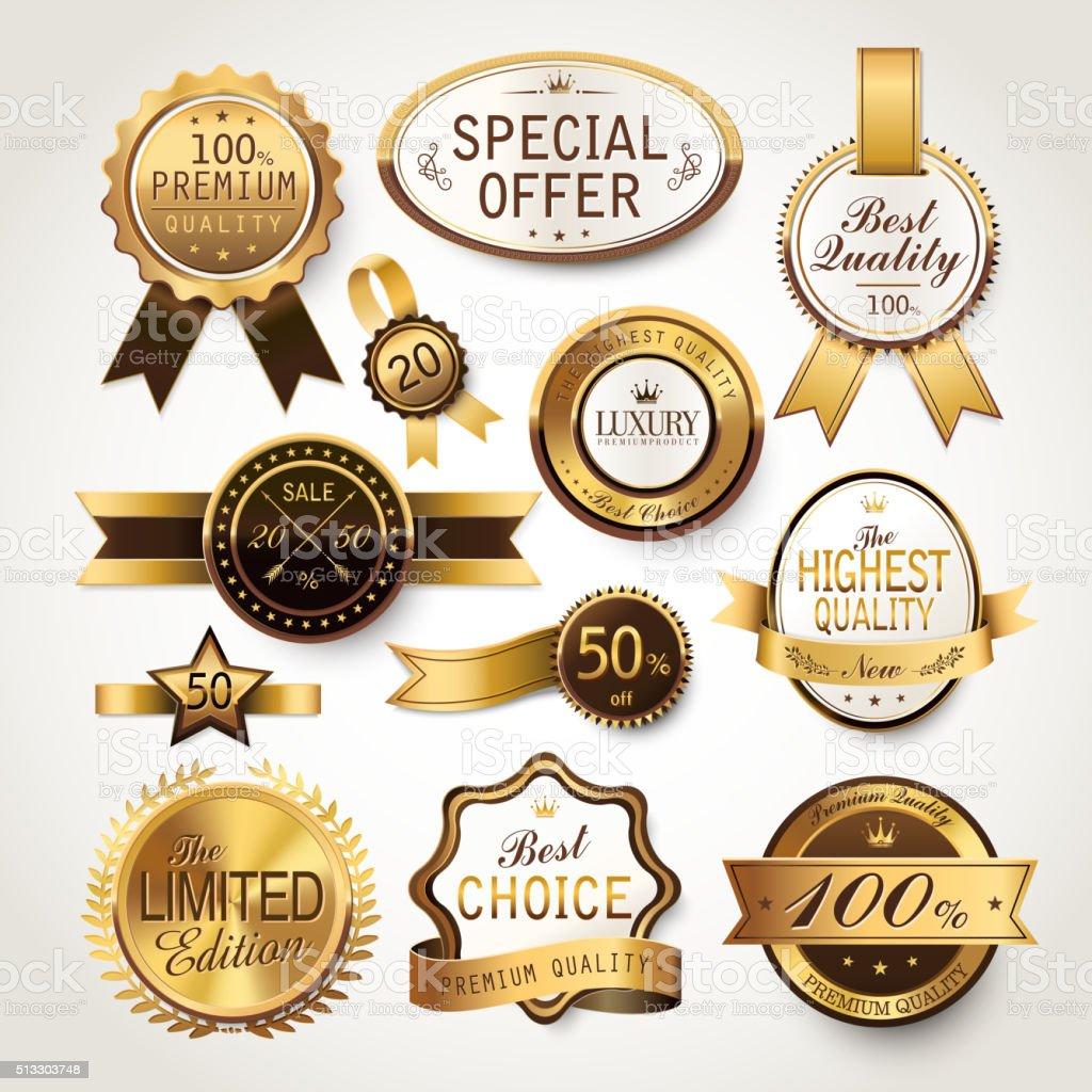 elegant golden labels collection set vector art illustration