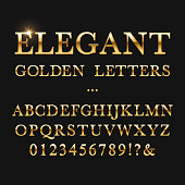 Elegant golden letters. Shiny gold vector alphabet
