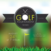 Elegant Vector illustration of golf tournament invitation layout or poster advertisement design template.Green, dark gray color scheme.  Includes sample text design elements and golf tee, golf course and clubs background. Perfect for golf outing, tournament, golf course advertisement poster and charity sporting event. See my portfolio for other invitations and golf concepts.