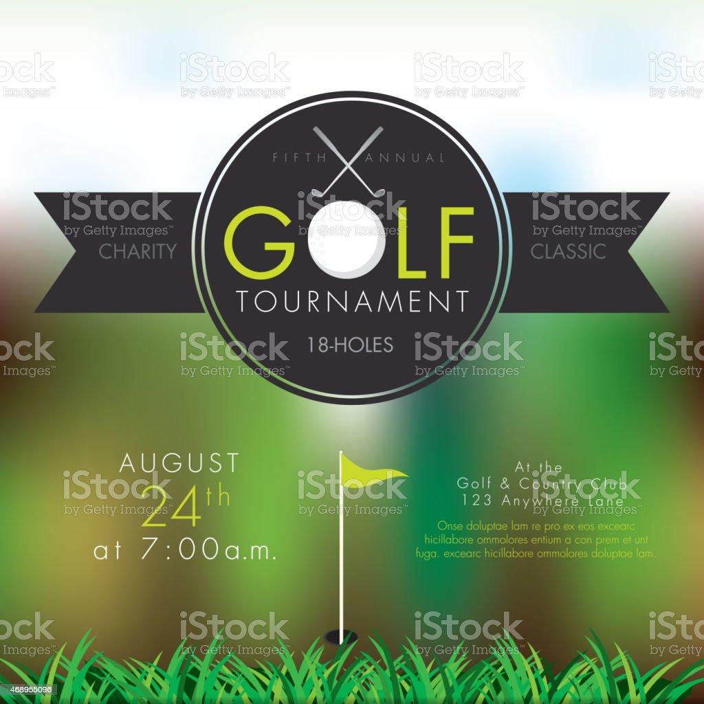 Tournoi de Golf de conception élégante invitation modèle sur bokeh - Illustration vectorielle