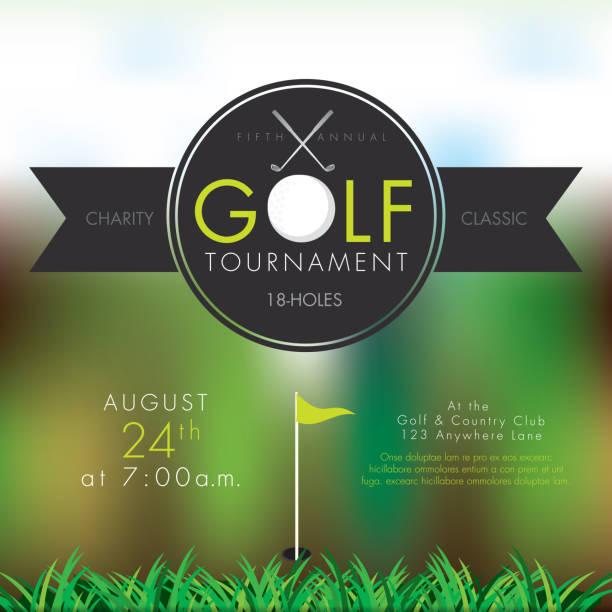 ilustrações, clipart, desenhos animados e ícones de torneio de golfe elegante modelo de design de convite de bokeh - golfe