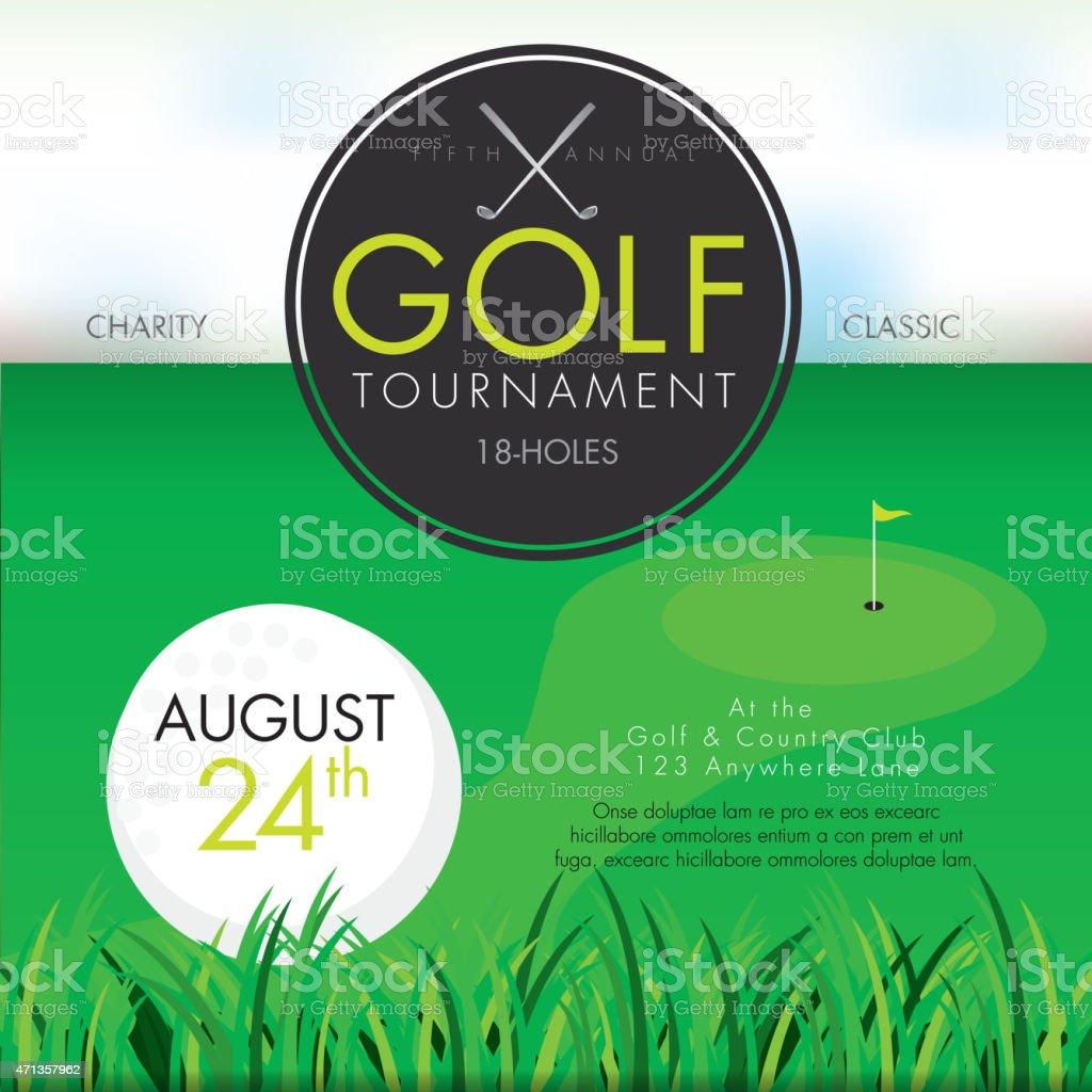 Elegant Golf tournament invitation design template on green vector art illustration