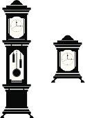 Elegant Grandfather & Carriage Clock Silhouettes