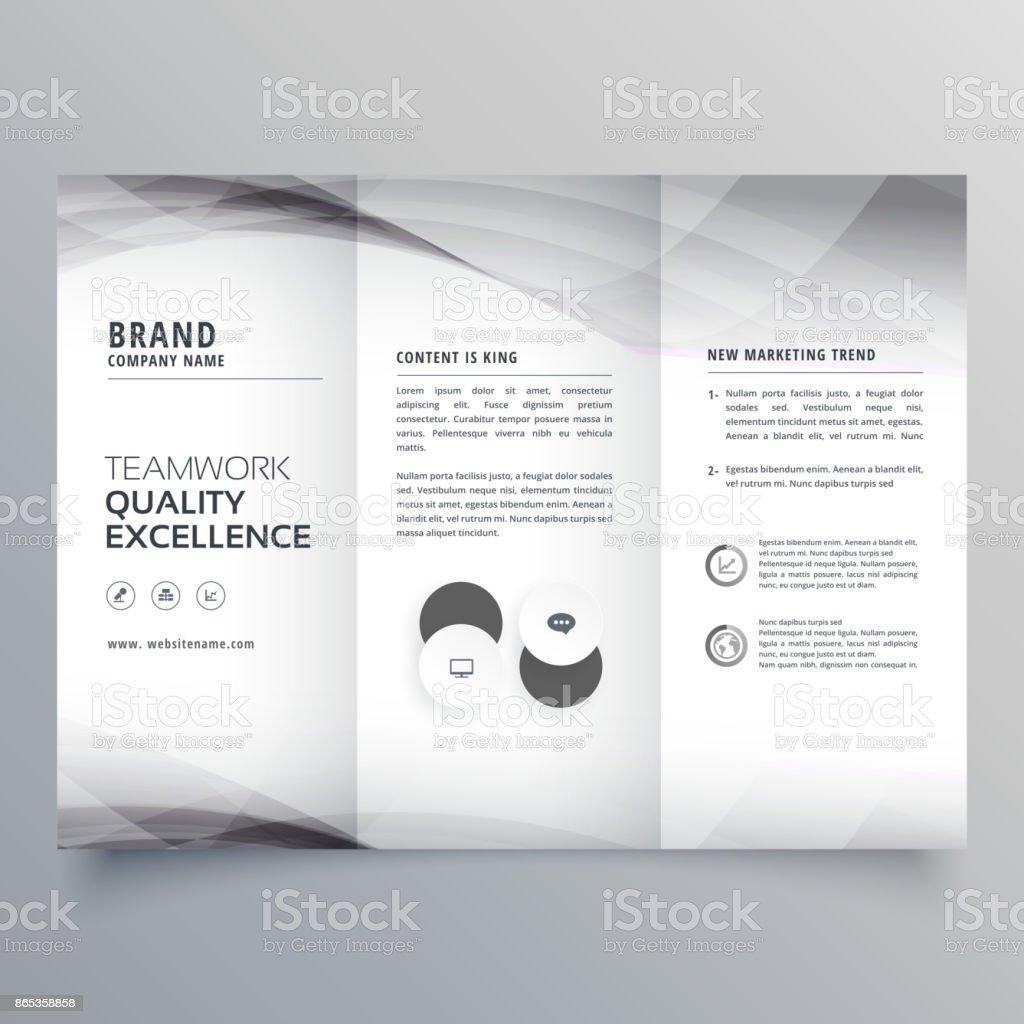 elegant gray trifold business brochure design vector art illustration