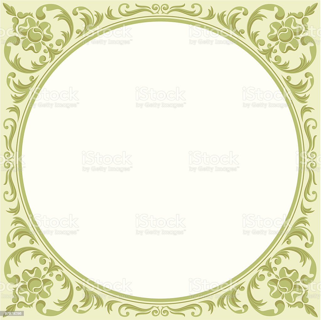 elegant green floral round frame royalty-free elegant green floral round frame stock vector art & more images of abstract