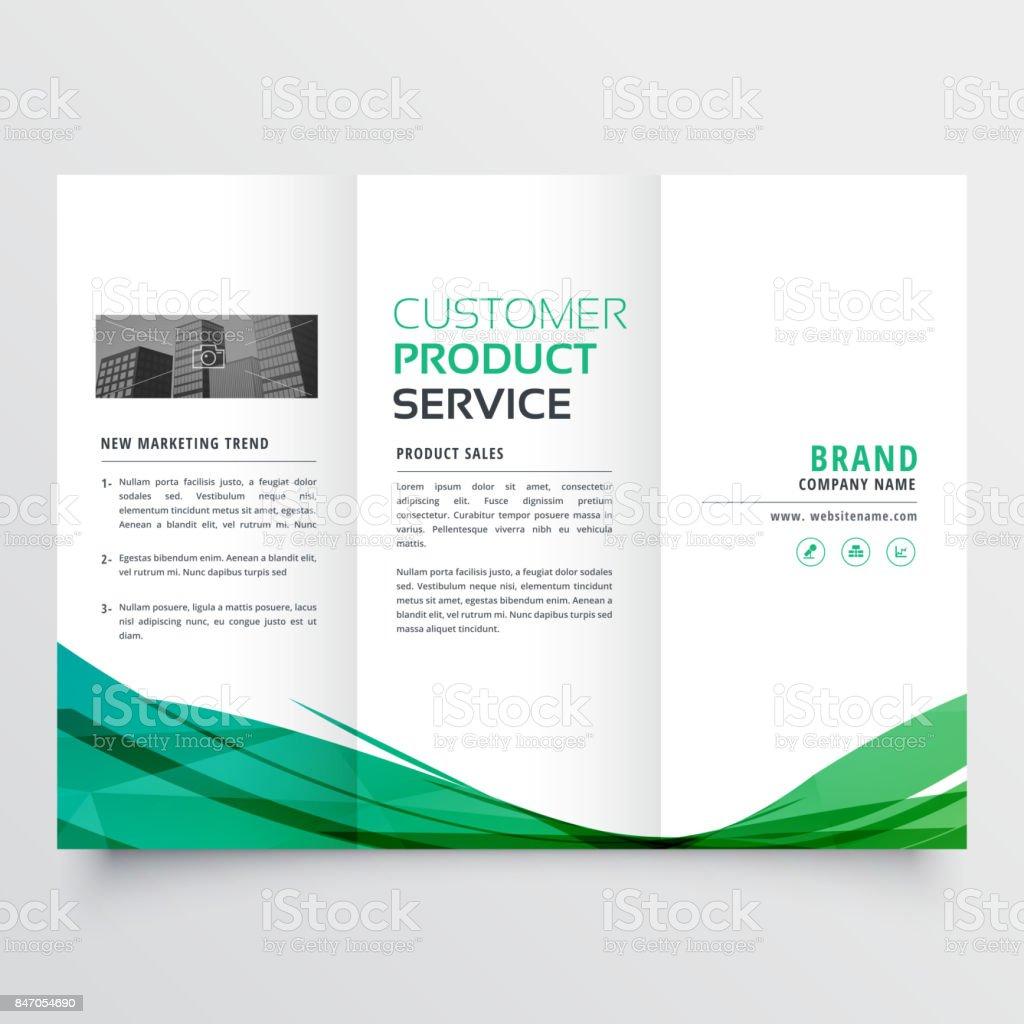 elegant green wave trifold brochure design for your business vector art illustration