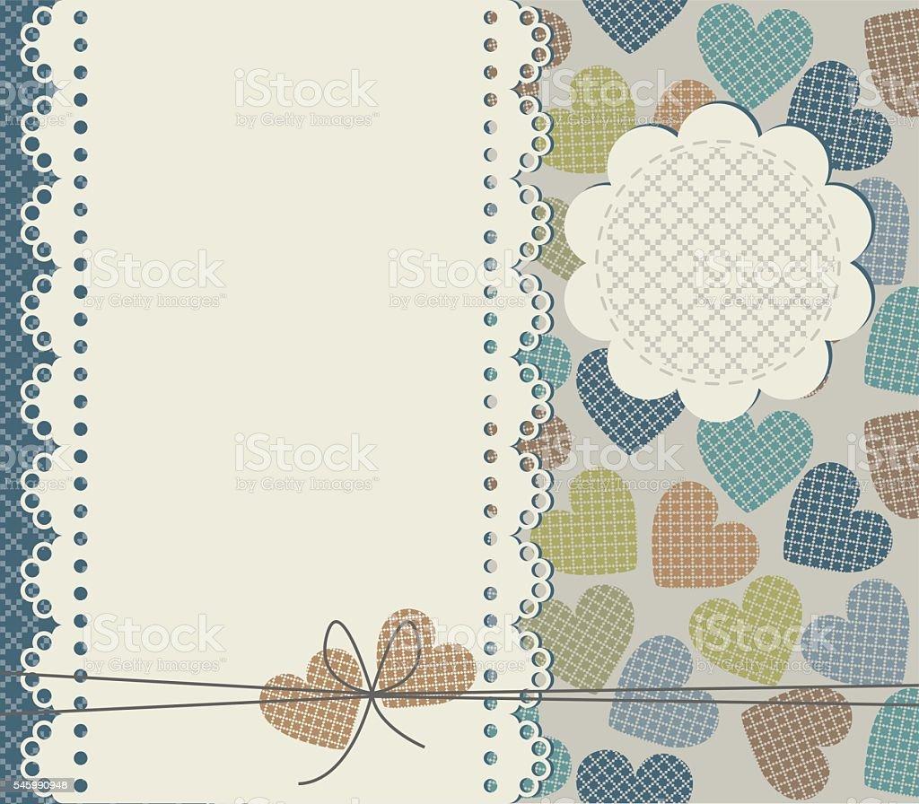 Elegant greeting card with hearts vector art illustration