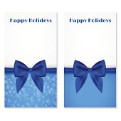 Elegant greeting cards with blue bows